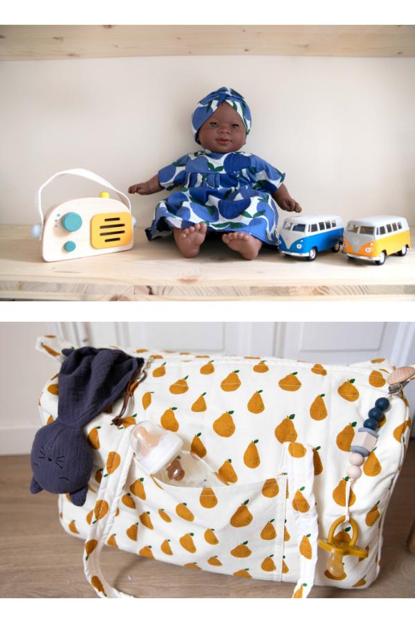 Sac à langer motifs poires - Tout pour les bébés