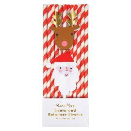 MERI MERI-  Pailles en papier rouge de Noël