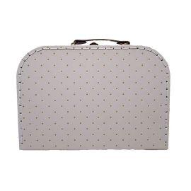 Petite valise blanche à pois