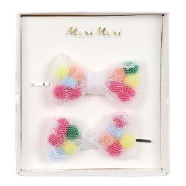 MERI MERI - 2 barrettes nœud pompons colorés