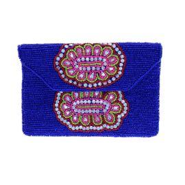 Pondie chérie - Pochette bleue à perles