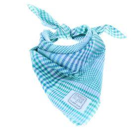 Foulard vert et bleu Bonheur du jour x Le petit souk