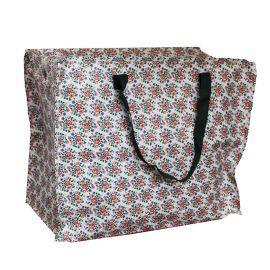 Jumbo bag motif floral vert