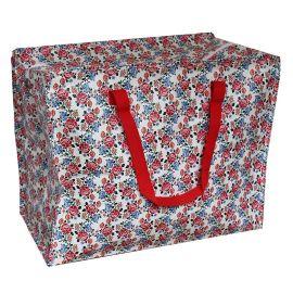 Jumbo bag motif floral rouge