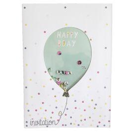 8 cartes d'anniversaire invitation ballon