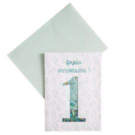 Carte joyeux anniversaire verte