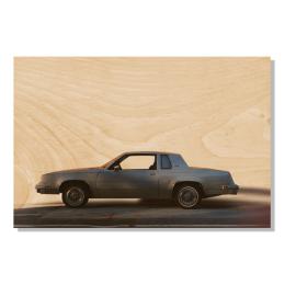 Carte postale en bois voiture rétro