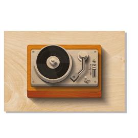 Carte postale en bois tourne disque