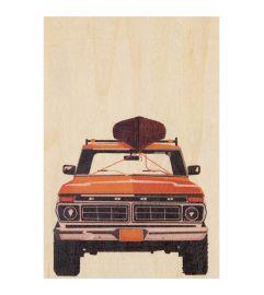 Carte postale en bois 4x4 orange