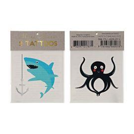 2 tatouages temporaires animaux marins Meri Meri