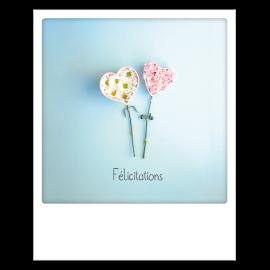 Carte postale polaroid félicitations fleurs