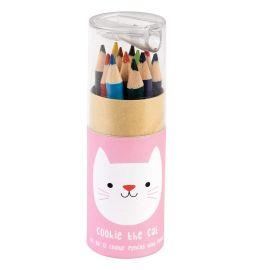 Boîte de 12 crayons chat rose
