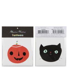 Tatouages temporaires citrouille et chat