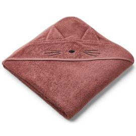Grande cape de bain chat rose foncé