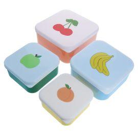 Lot de 4 lunch box motif fruits rouge
