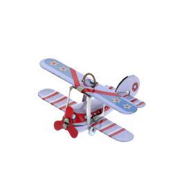 Petit avion biplan vintage en métal