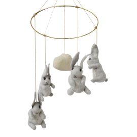 Mobile feutre lapins gris