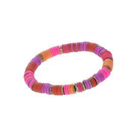 Bracelet perles heishi rose et or