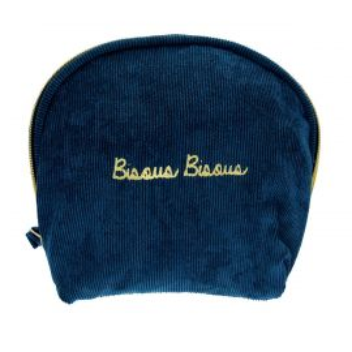 Trousse velours bleu bisou bisou