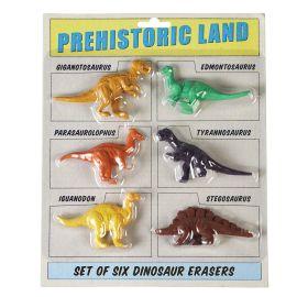 Lot de 6 gommes dinosaure