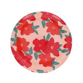 Assiette à fleurs rouge en mélamine