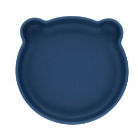 Assiette ours silicone bleu