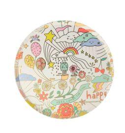 Assiettes en cartons motif dessins colores