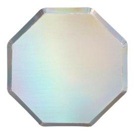 Assiettes holographiques argentees