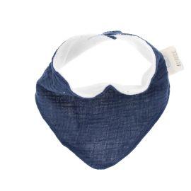 Bavoir bandana gaze de coton bleu