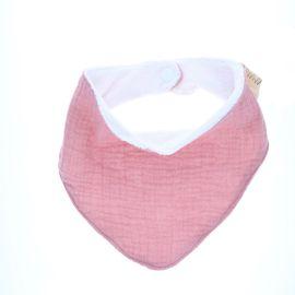 Bavoir bandana gaze de coton rose pâle