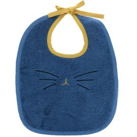 Bavoir éponge bleu motif chat