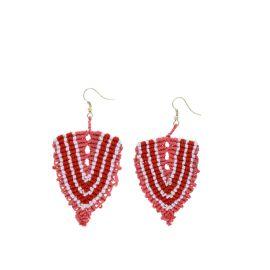 Boucles d'oreilles tissées corail rayée rouge et blanc