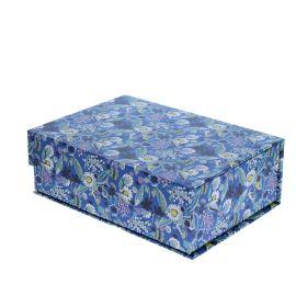 Boîte bleue à fleurs