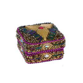 Boite carré doré à perles