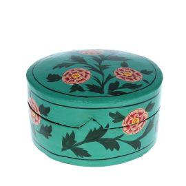 Boîte ronde verte à fleurs