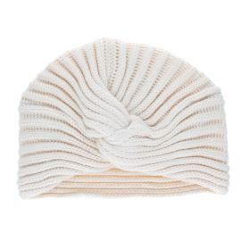 Bonnet turban côtelé écru