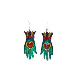Boucles d'oreilles mains vertes