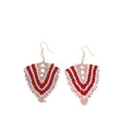 Boucles d'oreilles ethnique rouge rose