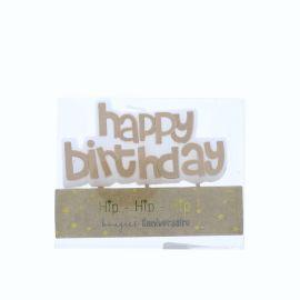 Bougie happy birthday dorée