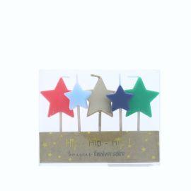 Bougies étoiles multicolores