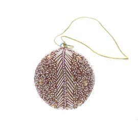 Boule de Noël à perles rose et doré