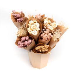 Bouquet fleurs séchées rose