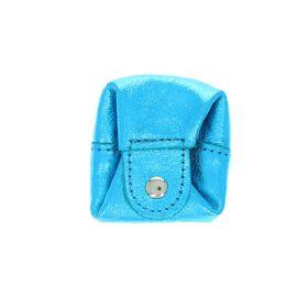 Bourse en cuir bleu turquoise