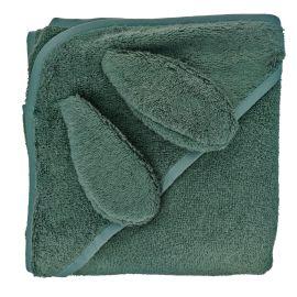 Cape de bain lapin vert foncé 100 x100