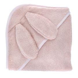 Cape de bain lapin rose pâle 70x70