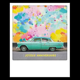 Carte polaroid voiture vintage joyeux anniversaire