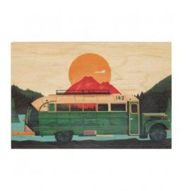 Carte postale en bois bus