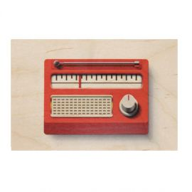 Carte postale bois radio