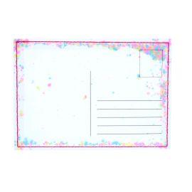 Carte postale transparente à paillettes