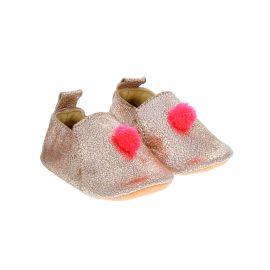 Chaussons cuir Or rosé avec pompon fluo 12-18 mois